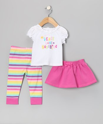 Pink 'Peace Love + Sunshine' Skirt Set - Infant
