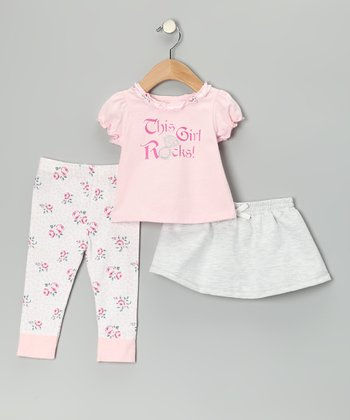 Pink 'This Girl Rocks!' Skirt Set - Infant & Toddler