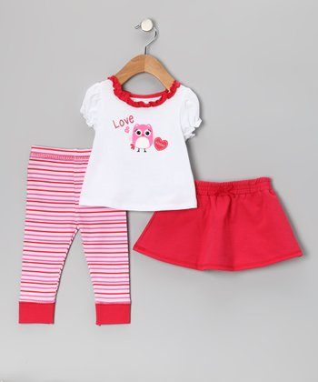 Red 'Love & Kisses' Skirt Set - Infant