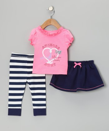 Navy 'Anchors' Skirt Set - Infant & Toddler
