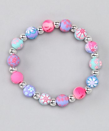 Precious Pink & Silver Beaded Ball Stretch Bracelet