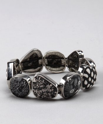 Classic Black Lace & Silver Pebble Stretch Bracelet