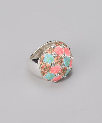 Coral Reef & Silver Crystal Stretch Cocktail Ring