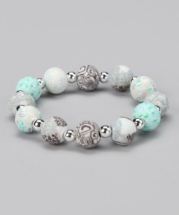 White Sand & Silver Beaded Ball Stretch Bracelet