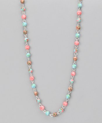 Coral Reef & Silver Short Strand Necklace