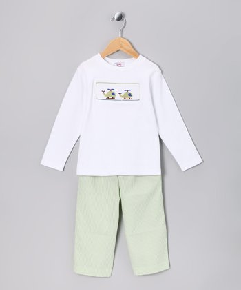 White Helicopter Tee & Green Pants - Infant