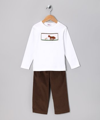 White Horse Tee & Brown Corduroy Pants - Infant