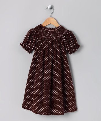 Brown & Pink Corduroy Bishop Dress - Toddler