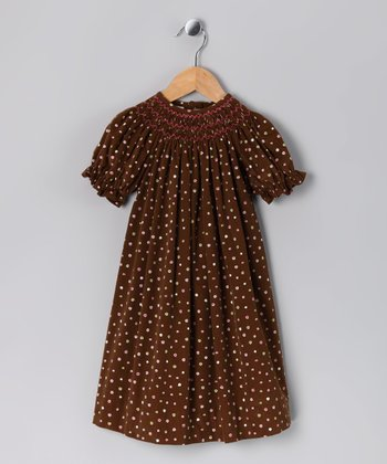 Brown & Pink Corduroy Bishop Dress - Infant, Toddler & Girls
