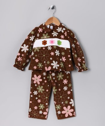 Brown Floral Top & Pants - Infant, Toddler & Girls
