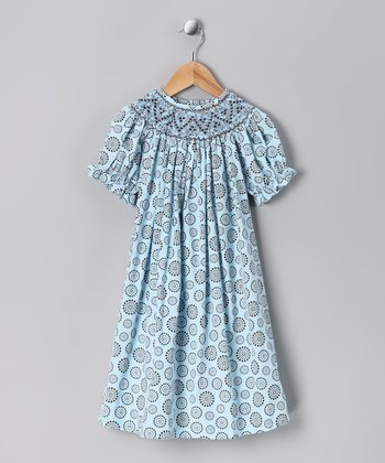 Blue & Brown Flower Corduroy Bishop Dress - Infant & Girls