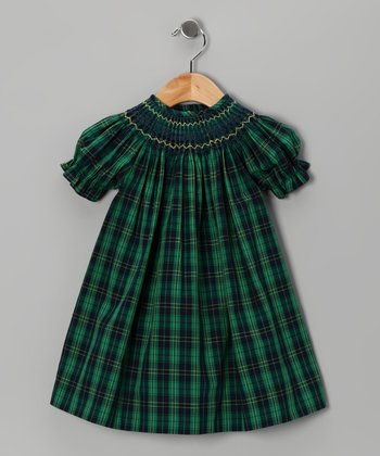 Blue & Green Plaid Bishop Dress - Infant & Toddler