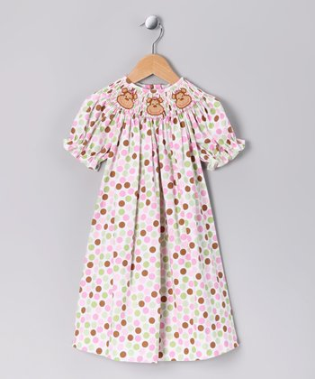 Pink & Lime Monkey Bishop Dress - Infant & Toddler
