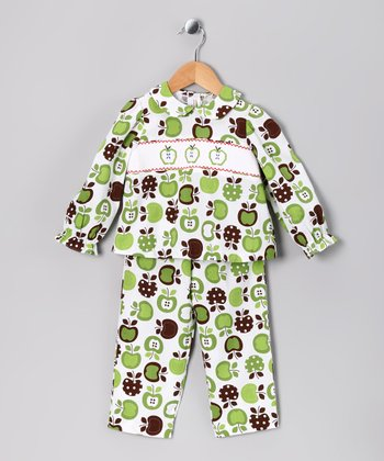 Lime & Brown Apple Top & Pants - Infant