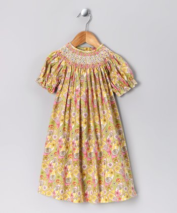 Pink & Lime Floral Bishop Dress - Toddler