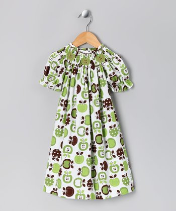Lime & Brown Apple Bishop Dress - Toddler & Girls
