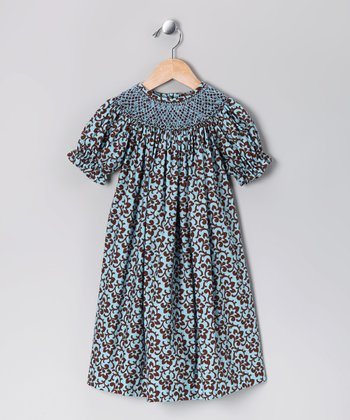 Brown & Blue Floral Bishop Dress - Toddler & Girls
