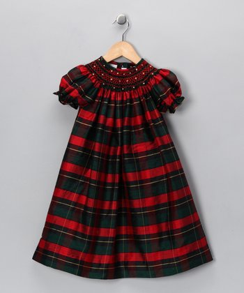Red & Green Plaid Silk Bishop Dress - Toddler
