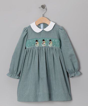 Green Snowman Dress - Infant & Toddler