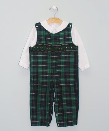 White Top & Green Plaid Smocked Overalls - Infant & Toddler