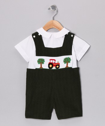 White Top & Green Tractor Shortalls - Infant & Toddler