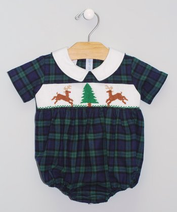 Green & Navy Plaid Buck Smocked Bubble Bodysuit - Infant