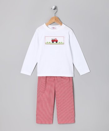 White Fire Truck Tee & Red Pants - Infant