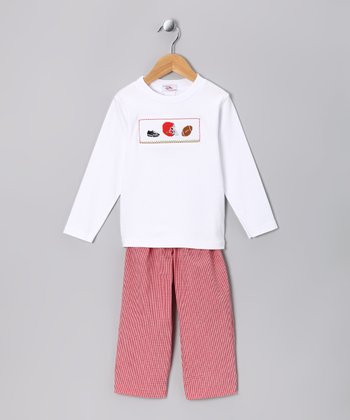 White Football Tee & Red Pants - Infant & Kids