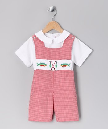 White Top & Red Fishing Pole Shortalls - Toddler