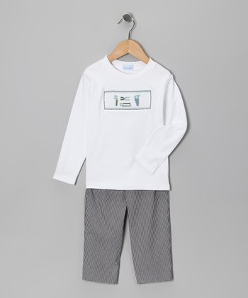 White Tool Smocked Tee & Black Gingham Pants - Infant & Toddler