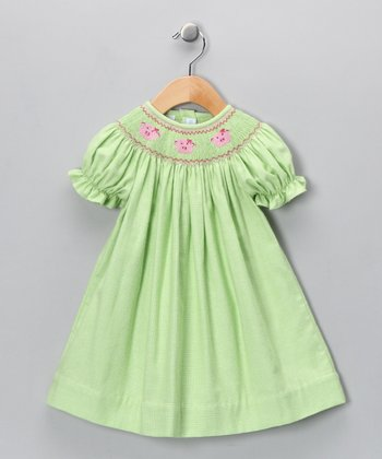 Lime Gingham Pig Bishop Dress - Infant, Toddler & Girls