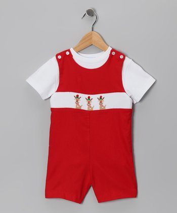 White Tee & Red Rudolph John Johns - Infant & Toddler