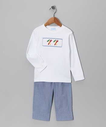 White Tool Tee & Blue Pants - Infant