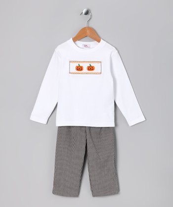 White Halloween Tee & Black Pants - Infant