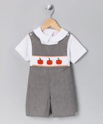 White Top & Black Jack-O'-Lantern Shortalls  - Infant & Toddler