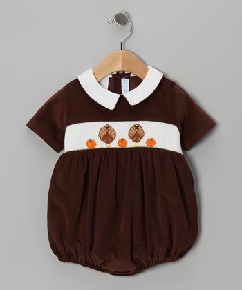Brown Turkey Corduroy Bubble Bodysuit - Infant