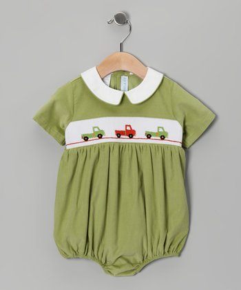 Green Truck Corduroy Smocked Bubble Bodysuit - Infant