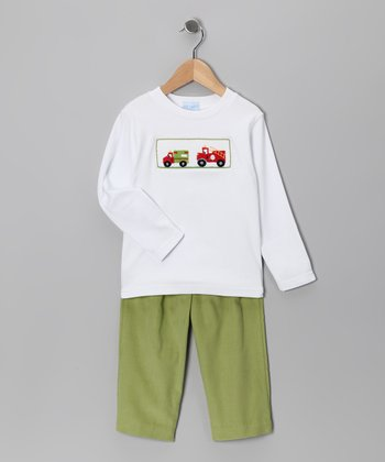 White Vehicle Smocked Tee & Green Corduroy Pants - Infant