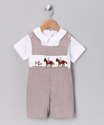 White Top & Brown Horse Shortalls - Toddler