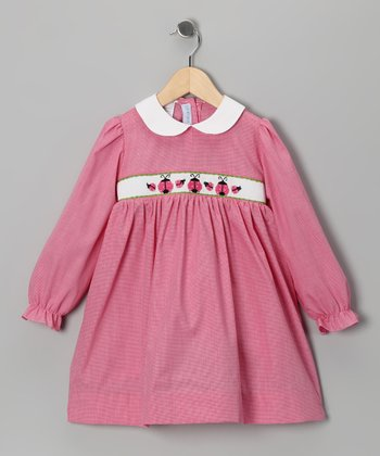 Hot Pink Ladybug Smocked Dress - Infant