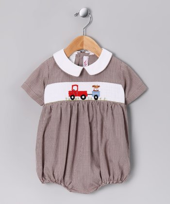 Brown Truck Bubble Bodysuit - Infant
