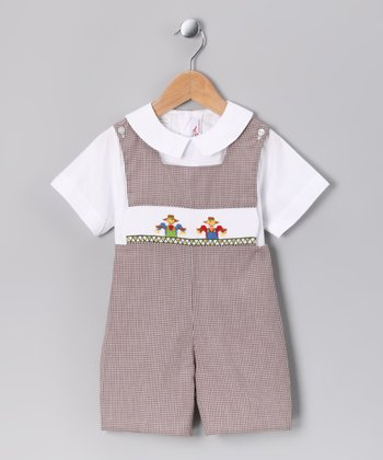 White Top & Brown Scarecrow Shortalls - Infant & Toddler
