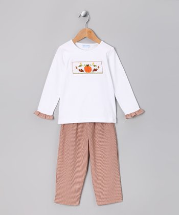 White Pumpkin Ruffle Tee & Orange Pants - Infant, Toddler & Girls