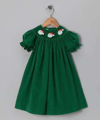 Green Santa Corduroy Bishop Dress - Infant