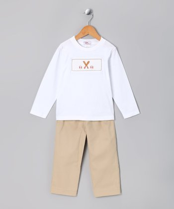 White Baseball Smocked Tee & Khaki Pants - Infant