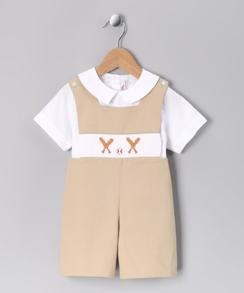 White Top & Khaki Baseball Smocked Shortalls - Infant & Toddler