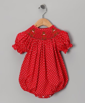 Red Gingerbread Smocked Bubble Bodysuit - Infant