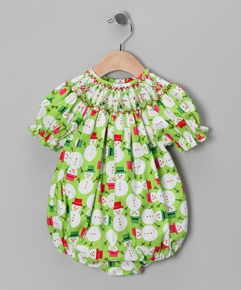 Green Snowman Smocked Bubble Bodysuit - Infant