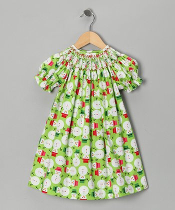 Green Snowmen Bishop Dress - Infant & Toddler