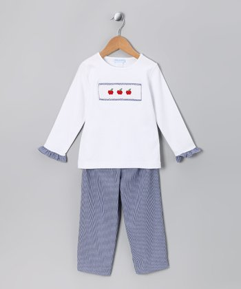 White Apple Ruffle Tee & Navy Gingham Pants - Toddler & Girls